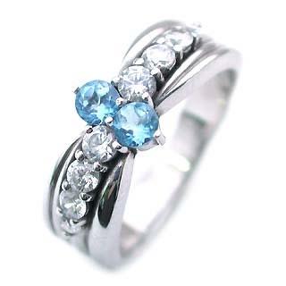 トパーズ ( 11月誕生石 ) Pt ブルートパーズ・ダイヤモンドリング(結婚10周年記念 )