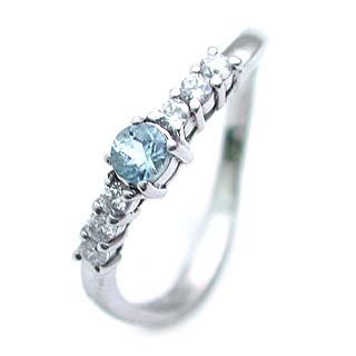 アクアマリン ( 3月誕生石 ) Pt アクアマリン・ダイヤモンドリング