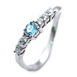 トパーズ ( 11月誕生石 ) Pt ブルートパーズ・ダイヤモンドリング