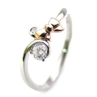 ダイヤモンド ダイヤ ( 4月誕生石 ) Pt K18ピンクゴールドダイヤモンドリング