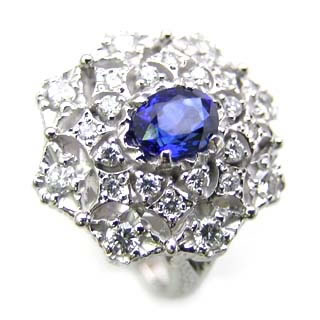 ( Brand Jewelry ASPIRARE ) Pt サファイアリング【DEAL】 末広 スーパーSALE