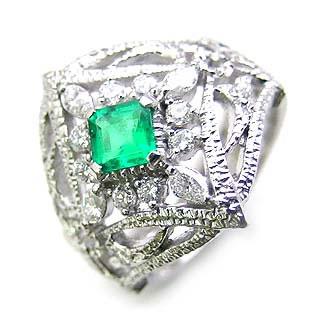( Brand Jewelry ASPIRARE ) Pt エメラルドリング 【DEAL】