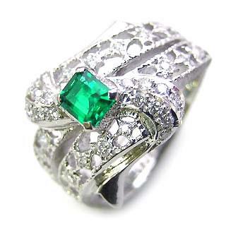 ( Brand Jewelry ASPIRARE ) Pt エメラルドリング