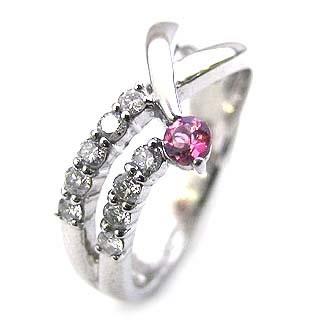 10月誕生石 ダイヤモンド プラチナ ピンクトルマリン ダイヤモンド リング