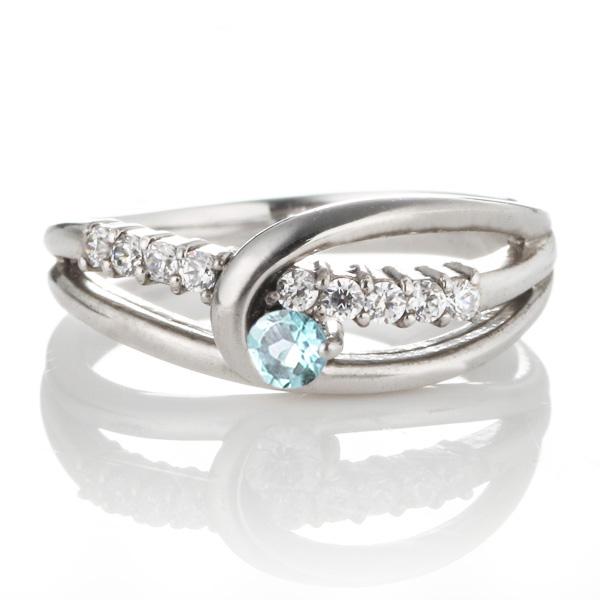 ダイヤモンド プラチナ ブルートパーズ ダイヤモンド リング