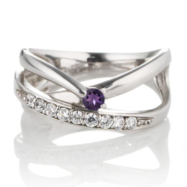 ダイヤモンド プラチナ アメジスト ダイヤモンド リング