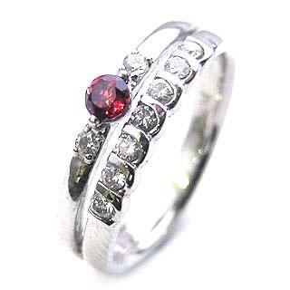 プラチナ ガーネット・ダイヤモンドリング(婚約指輪・エンゲージリング) 末広 スーパーSALE
