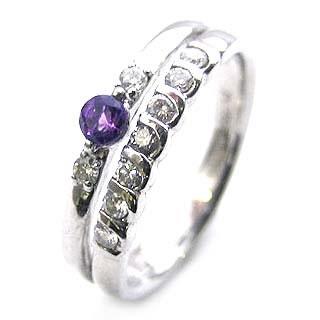プラチナ アメジスト・ダイヤモンドリング(婚約指輪・エンゲージリング)