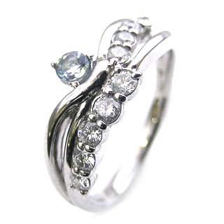 プラチナ アクアマリン・ダイヤモンドリング(婚約指輪・エンゲージリング)