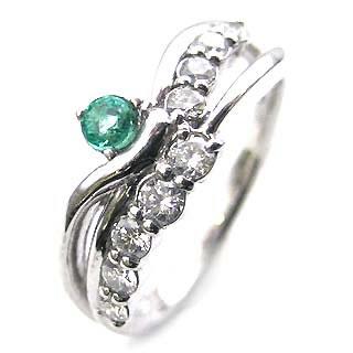 プラチナ エメラルド・ダイヤモンドリング(婚約指輪・エンゲージリング)