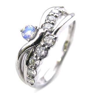 プラチナ ムーンストーン・ダイヤモンドリング(婚約指輪・エンゲージリング)【】【DEAL】 末広 スーパーSALE【今だけ手数料無料】