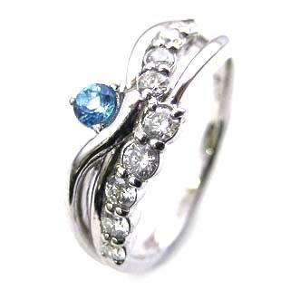 プラチナ ブルートパーズ・ダイヤモンドリング(婚約指輪・エンゲージリング)