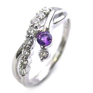 ダイヤモンド リング プラチナ ダイヤモンド リング ダイヤモンド 2月 誕生石 アメジスト ラッピング無料 末広 スーパーSALE