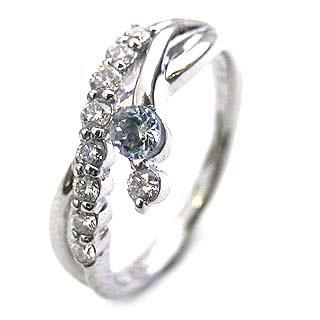 ダイヤモンド リング プラチナ ダイヤモンド リング ダイヤモンド 3月 誕生石 アクアマリン ラッピング無料 末広 スーパーSALE