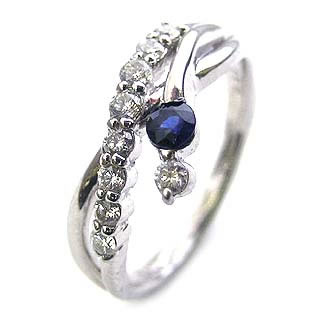 ダイヤモンド リング プラチナ ダイヤモンド リング ダイヤモンド 9月 誕生石 サファイア ラッピング無料 末広 スーパーSALE