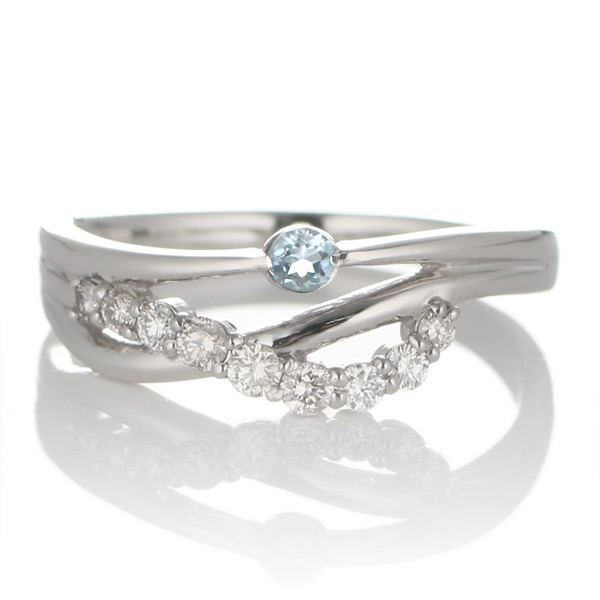 プラチナ アクアマリン・ダイヤモンドリング(婚約指輪・エンゲージリング)【DEAL】