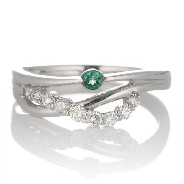プラチナ エメラルド・ダイヤモンドリング(婚約指輪・エンゲージリング)【DEAL】