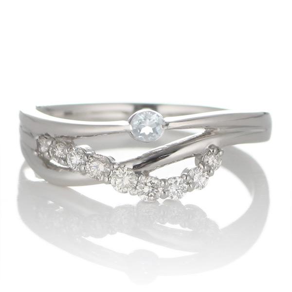 プラチナ ムーンストーン・ダイヤモンドリング(婚約指輪・エンゲージリング)