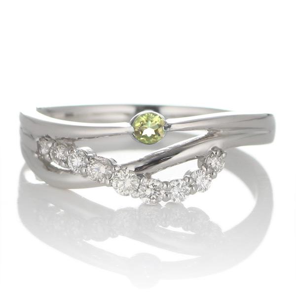 プラチナ ペリドット・ダイヤモンドリング(婚約指輪・エンゲージリング)