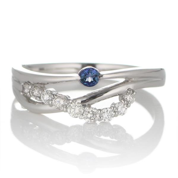 プラチナ サファイア・ダイヤモンドリング(婚約指輪・エンゲージリング)