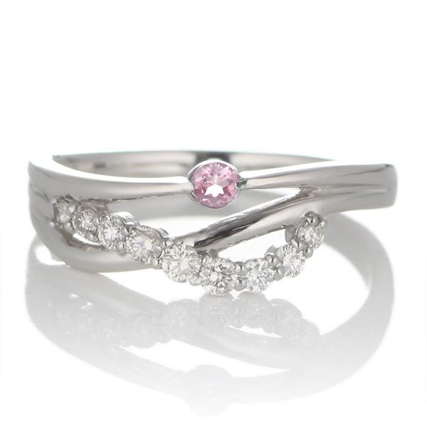 10月誕生石 プラチナ ピンクトルマリン・ダイヤモンドリング(婚約指輪・エンゲージリング)