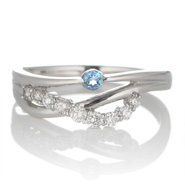 プラチナ ブルートパーズ・ダイヤモンドリング(婚約指輪・エンゲージリング)【DEAL】