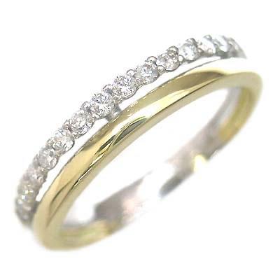 K18ゴールド・ホワイトゴールドダイヤモンドリング