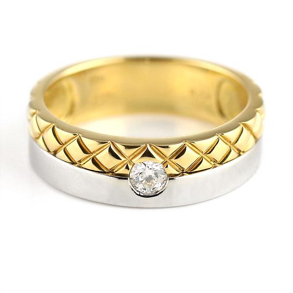 リング メンズ メンズリング メンズ リング 指輪 プラチナ900 K18イエローゴールド ダイヤモンド 【DEAL】
