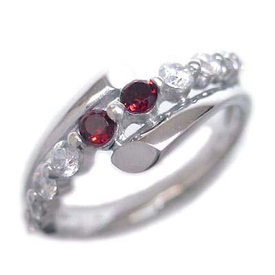 ダイヤモンド 1月誕生石 K18ホワイトゴールド ガーネット ダイヤモンド リング