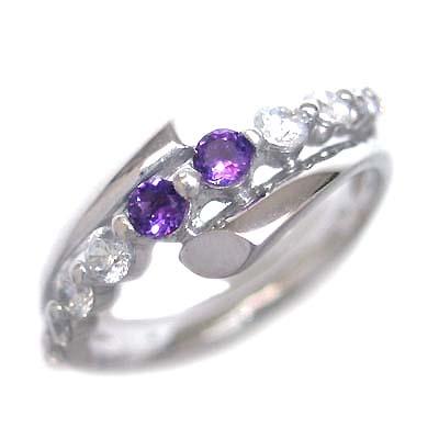 ダイヤモンド 2月誕生石 K18ホワイトゴールド アメジスト ダイヤモンド リング