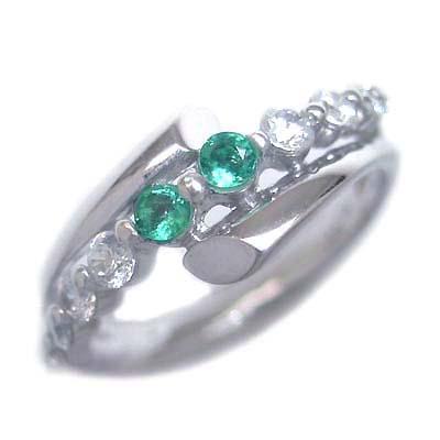 ダイヤモンド 5月誕生石 K18ホワイトゴールド エメラルド ダイヤモンド リング