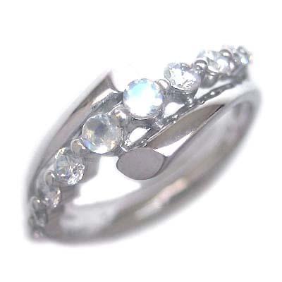 ダイヤモンド 6月誕生石 K18ホワイトゴールド ムーンストーン ダイヤモンド リング