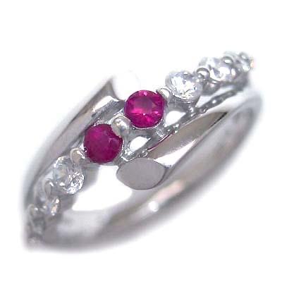 ダイヤモンド 7月誕生石 K18ホワイトゴールド ルビー ダイヤモンド リング