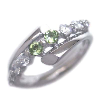 ダイヤモンド 8月誕生石 K18ホワイトゴールド ペリドット ダイヤモンド リング