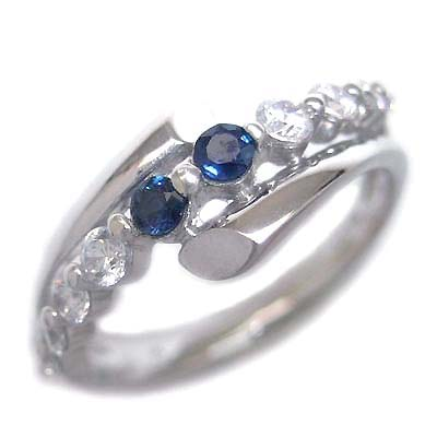 ダイヤモンド 9月誕生石 K18ホワイトゴールド サファイア ダイヤモンド リング