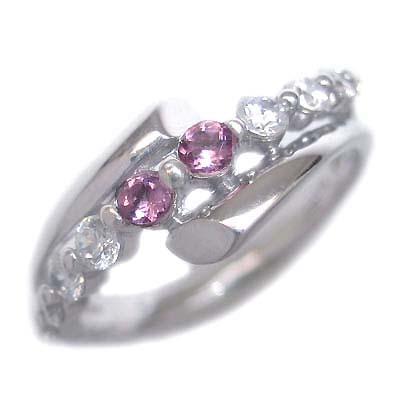 10月誕生石 ダイヤモンド 10月誕生石 K18ホワイトゴールド ピンクトルマリン ダイヤモンド リング