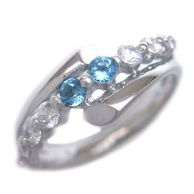 ダイヤモンド 11月誕生石 K18ホワイトゴールド ブルートパーズ ダイヤモンド リング 末広 スーパーSALE【今だけ代引手数料無料】