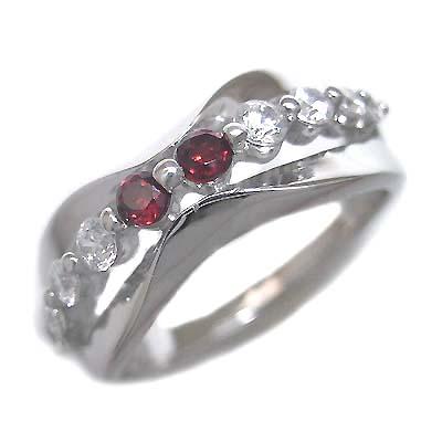 ダイヤモンド 1月誕生石 K18ホワイトゴールド ガーネット ダイヤモンド リング 末広 スーパーSALE【今だけ代引手数料無料】