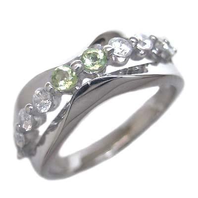 ダイヤモンド 8月誕生石 K18ホワイトゴールド ペリドット ダイヤモンド リング 末広 スーパーSALE【今だけ代引手数料無料】