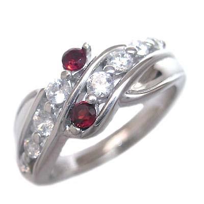 スイート エタニティ ダイヤモンド 10 個 ( 1月誕生石 ) K18ホワイトゴールド ガーネット・ダイヤモンドリング 結婚 10周年記念
