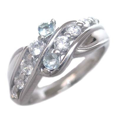 スイート エタニティ ダイヤモンド 10 個 ( 3月誕生石 ) K18ホワイトゴールド アクアマリン・ダイヤモンドリング 結婚 10周年記念