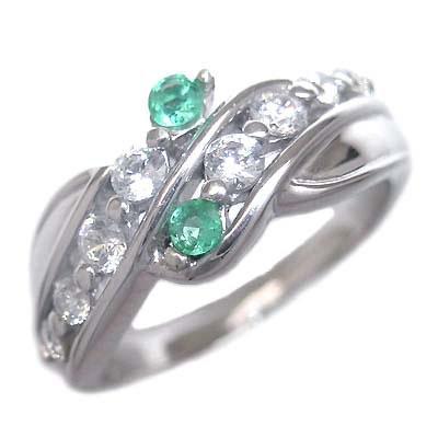 スイート エタニティ ダイヤモンド 10 個 ( 5月誕生石 ) K18ホワイトゴールド エメラルド・ダイヤモンドリング 結婚 10周年記念