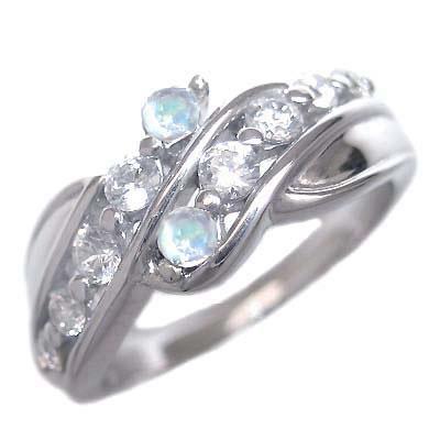 スイート エタニティ ダイヤモンド 10 個 ( 6月誕生石 ) K18ホワイトゴールド ムーンストーン・ダイヤモンドリング 結婚 10周年記念