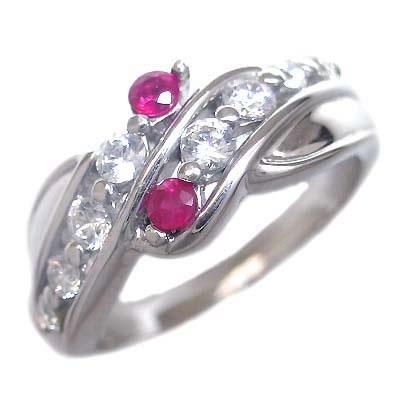 スイート エタニティ ダイヤモンド 10 個 ( 7月誕生石 ) K18ホワイトゴールド ルビー・ダイヤモンドリング 結婚 10周年記念