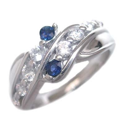 スイート エタニティ ダイヤモンド 10 個 ( 9月誕生石 ) K18ホワイトゴールド サファイア・ダイヤモンドリング 結婚 10周年記念