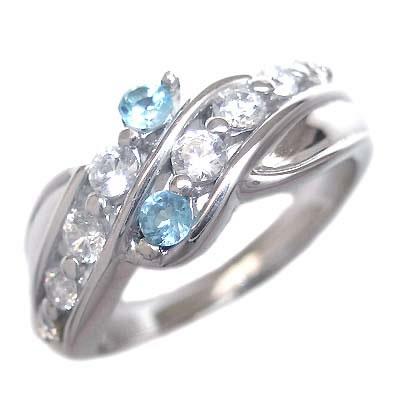 スイート エタニティ ダイヤモンド 10 個 ( 11月誕生石 ) K18ホワイトゴールド ブルートパーズ・ダイヤモンドリング 結婚 10周年記念