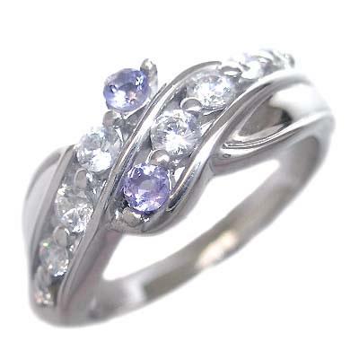 スイート エタニティ ダイヤモンド 10 個 ( 12月誕生石 ) K18ホワイトゴールド タンザナイト・ダイヤモンドリング 結婚 10周年記念