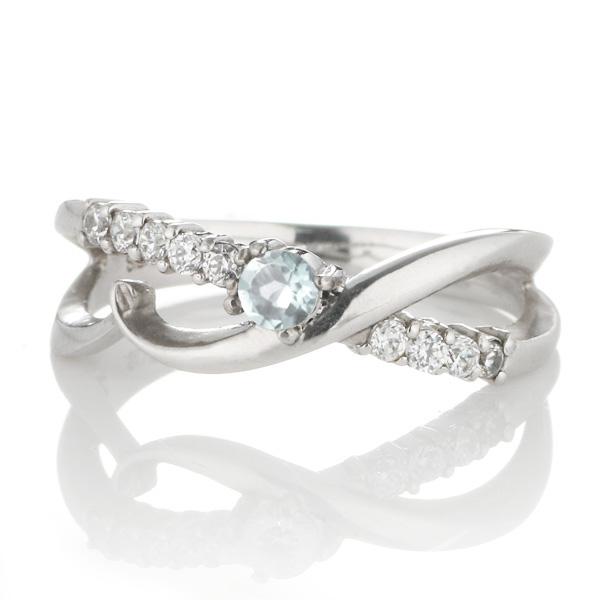 ダイヤモンド 3月誕生石 K18ホワイトゴールド アクアマリン ダイヤモンド リング