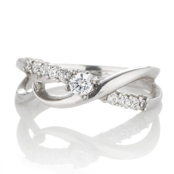 ダイヤモンド 4月誕生石 K18ホワイトゴールド ダイヤモンド リング