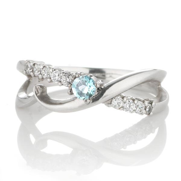 ダイヤモンド 11月誕生石 K18ホワイトゴールド ブルートパーズ ダイヤモンド リング